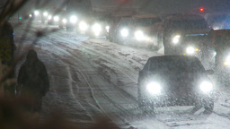 HD2009-11-24-12 snowstorm slow moving traffic Footage