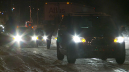 HD2009-11-24-16 snowstorm people pushing cars Stock Video Footage