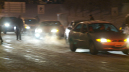 HD2009-11-24-18 snowstorm hopeless line of traffic Stock Video Footage