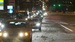 HD2009-11-24-26 snowstorm slow moving traffic Stock Video Footage