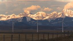 HD2009-10-6-9 wind turbines light on mtns Stock Video Footage