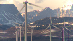 HD2009-10-6-13 wind turbines light on mtns LL thermo Footage