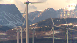HD2009-10-6-13 wind turbines light on mtns LL thermo Stock Video Footage
