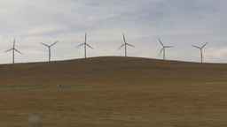 HD2009-10-7-2 drive along wind turbines Stock Video Footage