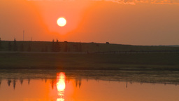HD2009-9-1-2 sunrise over prairie pond Stock Video Footage