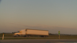 HD2009-9-1-8 early morning TN truck highway through frame Stock Video Footage