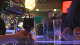 HD2009-9-2-3 bar, red wine in glass served Stock Video Footage