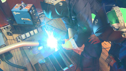HD2009-9-7-3 arc weld x3 Stock Video Footage