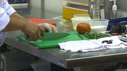 HD2009-9-12-3 cutting veggies beans Stock Video Footage