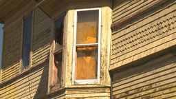 HD2009-9-31-7 boarded old house CU 2shot Stock Video Footage