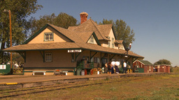 HD2009-9-32-1 old train station montage Stock Video Footage