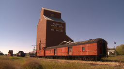 HD2009-9-32-7b grain elevator and train cars Stock Video Footage