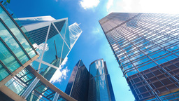 4k timelapse video of office buildings with reflec Footage