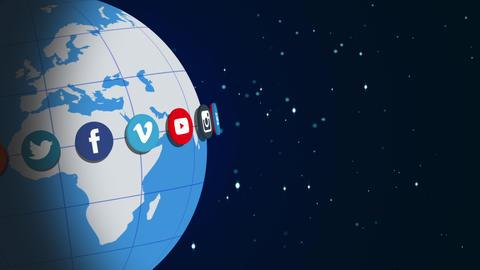 Social Network Logos   Rotating Earth   V1 stock footage
