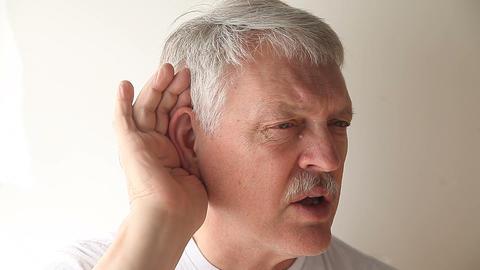 senior man cannot hear Footage