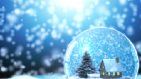 Loop able Christmas Snow globe Snowflake with Snow Animation