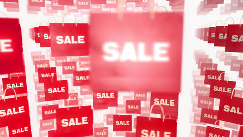 Many Shopping Sale Bag Moving Loop On White Backgr stock footage