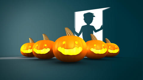 Halloween Pumpkin with boy open the door in backgr Animation