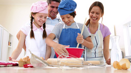 Cute family baking together Footage