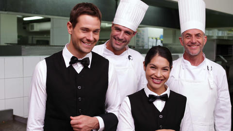 Happy Restaurant Staff Smiling At Camera stock footage