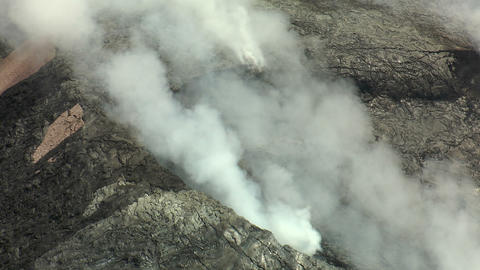 Flying over Kilauea Crater closeup Footage