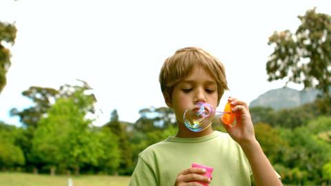 Little boy blowing bubbles Footage