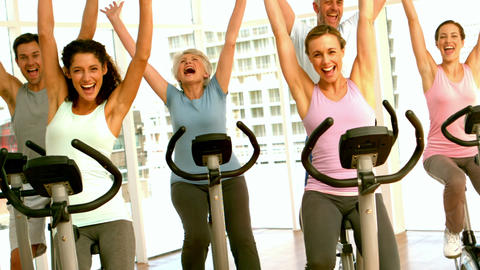 Happy spinning class cheering Footage