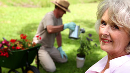 Retired woman watching her husband gardening Footage