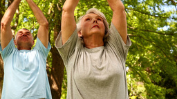 Retired Couple Doing Yoga Outside stock footage