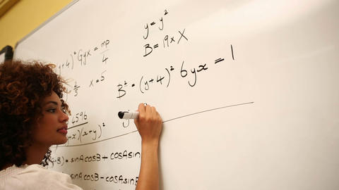 Clever Student Solving Math Problems On Whiteboard stock footage