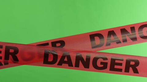 4K Moving Danger Warning Tape Overlay Green Screen Footage