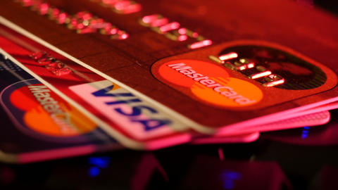 Stock Footage Credit Cards on the Keyboard Macro Live Action