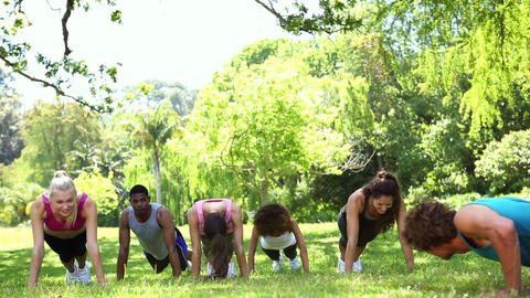 Fitness class doing push ups in the park Footage