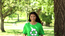 Happy environmental activist giving thumbs up Footage