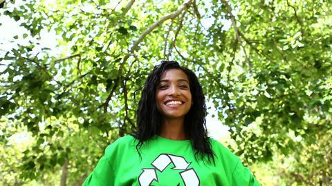 Happy environmental activist smiling at camera Footage