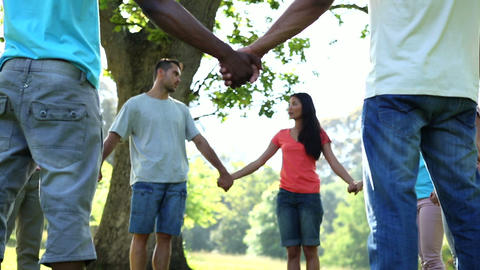 Young people holding hands in a circle Footage