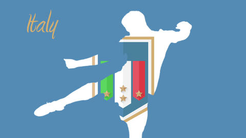 Italy World Cup 2014 Animation With Player stock footage