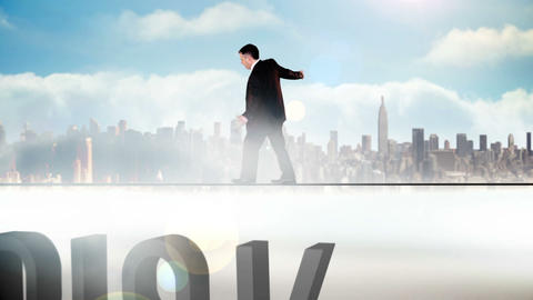 Businessman walking across tightrope with risk tex Animation