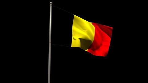 Belgium national flag waving on flagpole Animation