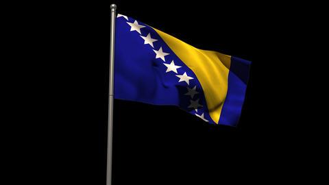 Bosnian national flag waving on flagpole Animation