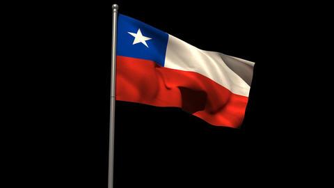 Chile national flag waving on flagpole Animation