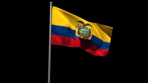 Ecuador national flag waving on flagpole Animation