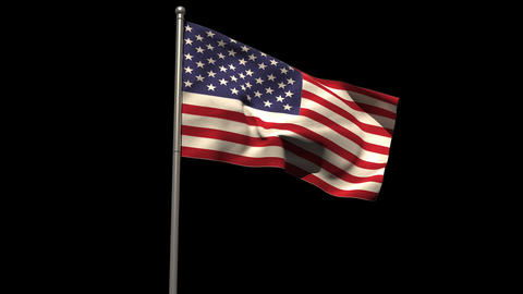 America national flag waving on flagpole Animation