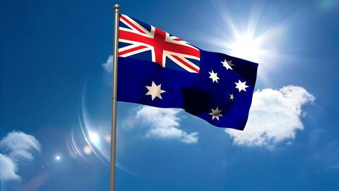 Australia national flag waving on flagpole Animation