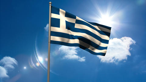 Greece national flag waving on flagpole Animation