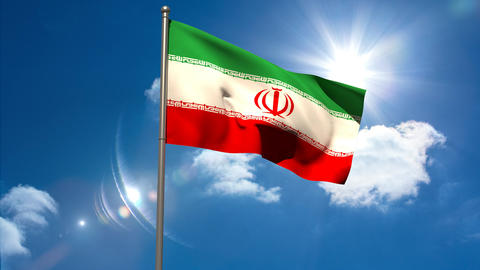 Iran national flag waving on flagpole Animation