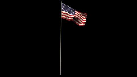 American national flag waving on flagpole Animation