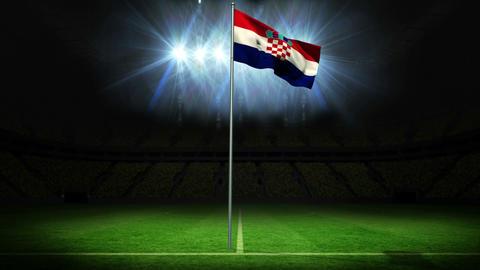 Croatia national flag waving on flagpole Animation