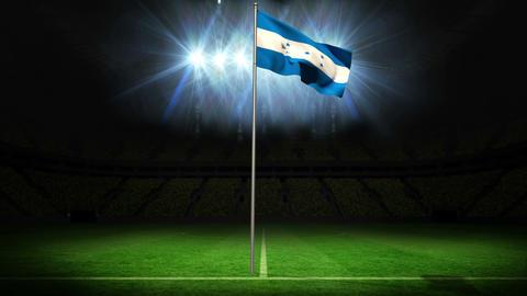 Honduras national flag waving on flagpole Animation