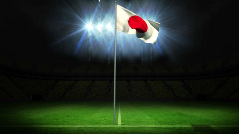 Japan national flag waving on flagpole Animation